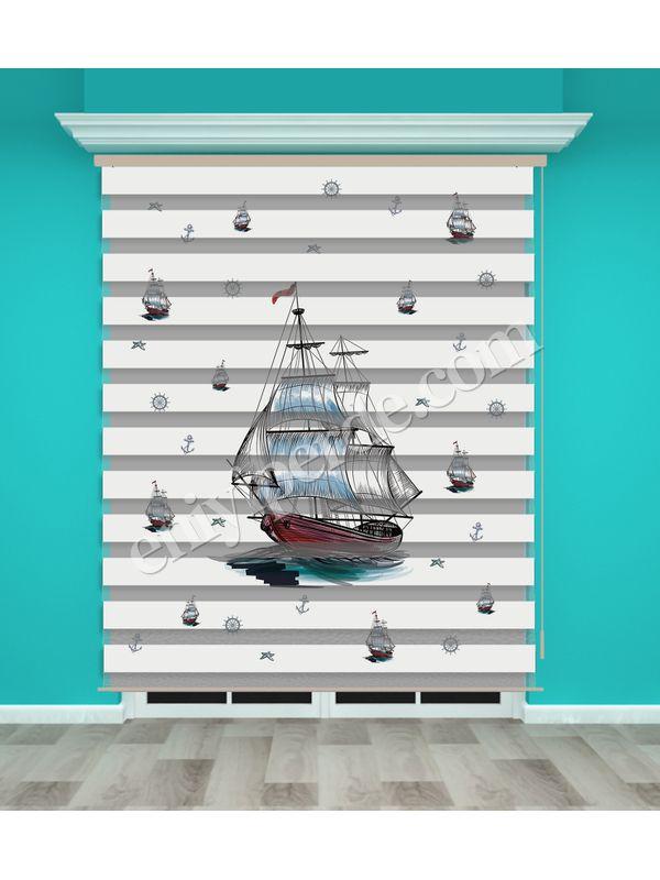 Dijital Baskılı Zebra Perde (Gemi) - PM 007-1