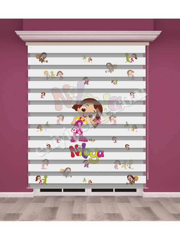 Niloya Baskılı Kız Çocuk Odası Zebra Perde - PM 015-1