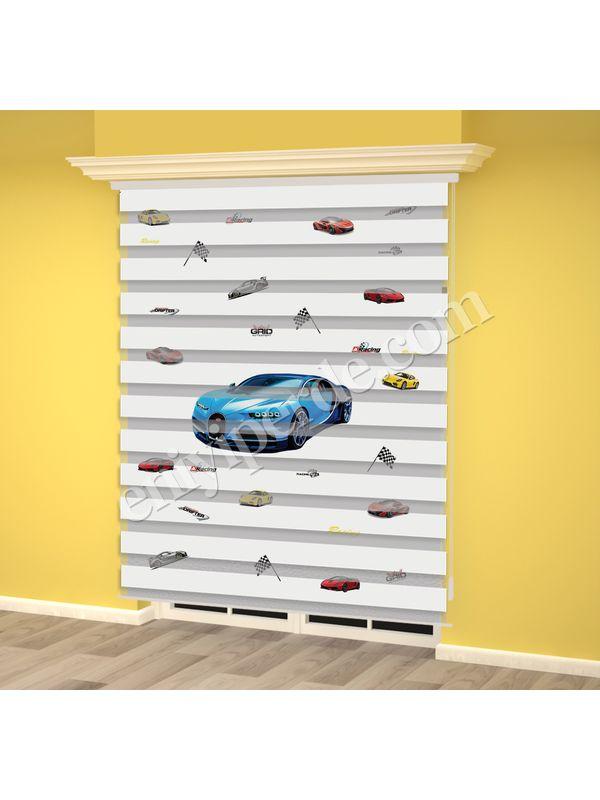 Mavi Yarış Arabası Baskılı Erkek Çocuk Odası Zebra Perde - PM 017