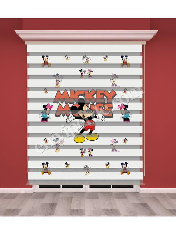 Mickey Mouse Baskılı Çocuk Odası Zebra Perde - PM 024-1