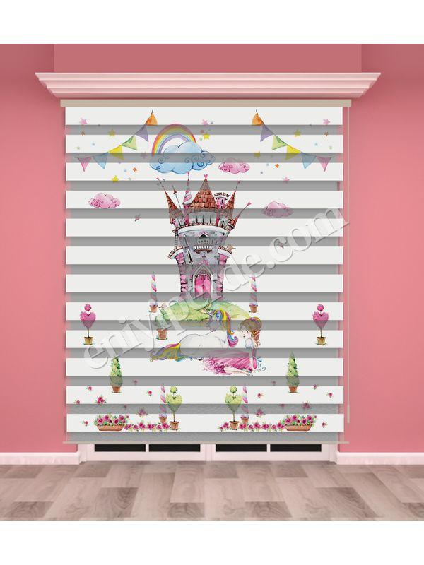 Dijital Baskılı Kız Çocuk Odası Zebra Perde - PM 033-1