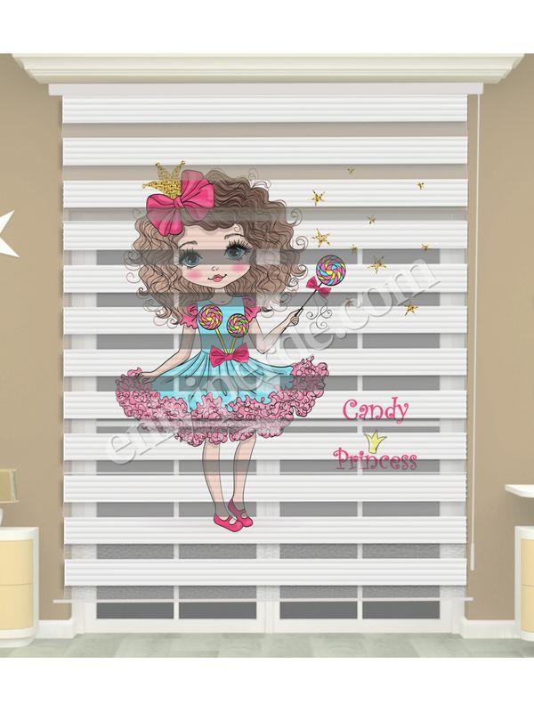 Prenses Baskılı Kız Çocuk Odası Zebra Perde - PM 052-1
