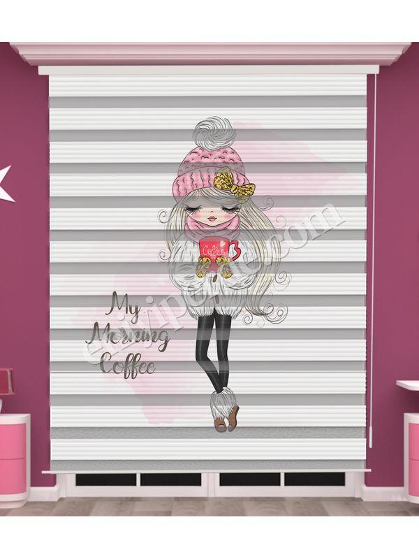 Dijital Baskılı Kız Çocuk Odası Zebra Perde - PM 053