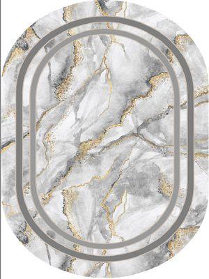 Marble Oval Lateks Taban Su Geçirmez Antialerjik Leke Tutmaz Saçaklı Modern Halı