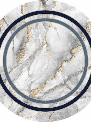 Marble Yuvarlak Lateks Taban Su Geçirmez Antialerjik Leke Tutmaz Saçaklı Modern Halı
