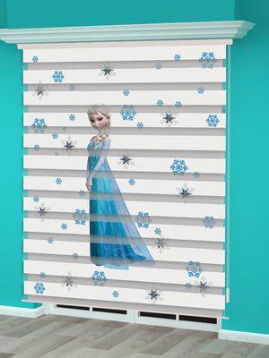 Frozen Elsa Baskılı Kız Çocuk Odası Zebra Perde - PM 005