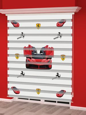 Kırmızı Araba Baskılı Erkek Çocuk Odası Zebra Perde - PM 013