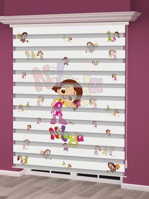 Niloya Baskılı Kız Çocuk Odası Zebra Perde - PM 015