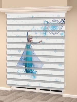 Frozen Elsa Baskılı Kız Çocuk Odası Zebra Perde - PM 035