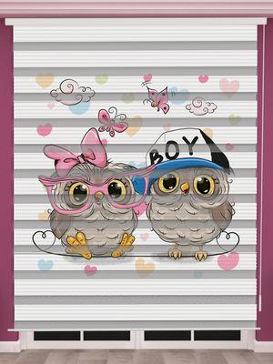 Baykuş Baskılı İkiz Bebek Odası Zebra Perde - PM 040