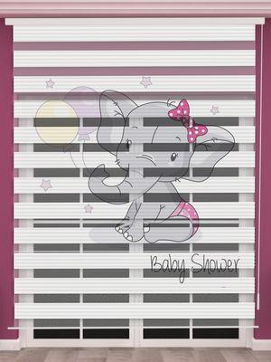 Fil Baskılı Kız Bebek Odası Zebra Perde - PM 049-1