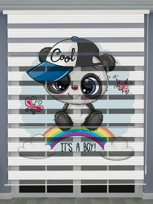 Panda Baskılı Erkek Bebek Odası Zebra Perde - PM 050-1
