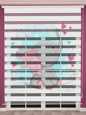 Sevimli Fil Baskılı Bebek Odası Zebra Perde - PM 051-1