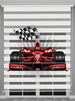 Formula 1 Baskılı Erkek Çocuk Odası Zebra Perde - PM 056-1
