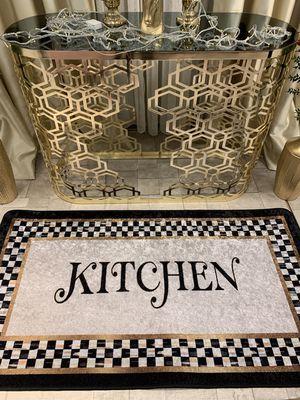 Kitchen Motifli Damalı Lateks Deri Tabanlı Leke Tutmaz Mutfak Halısı